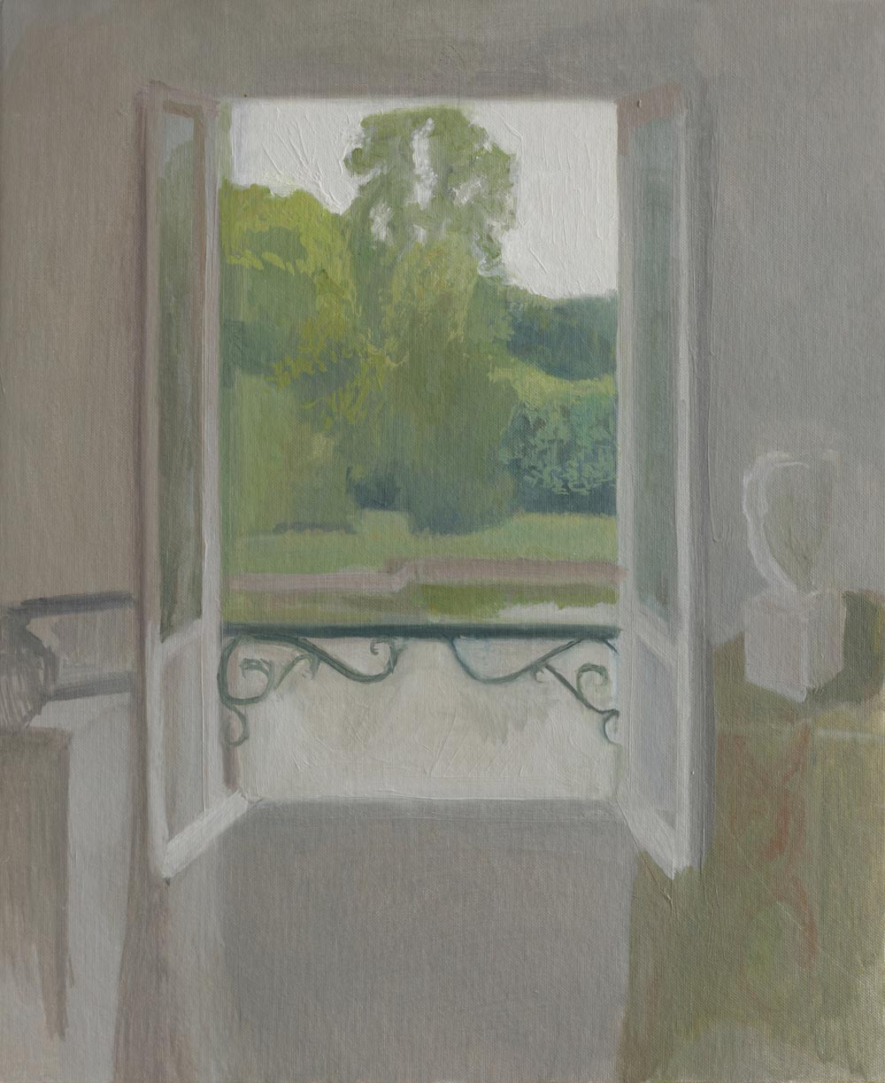 """Fenêtre aux arbres verts<span class=""""line2"""">Huile sur carton entoilé<br />38 x 46 cm</span>"""