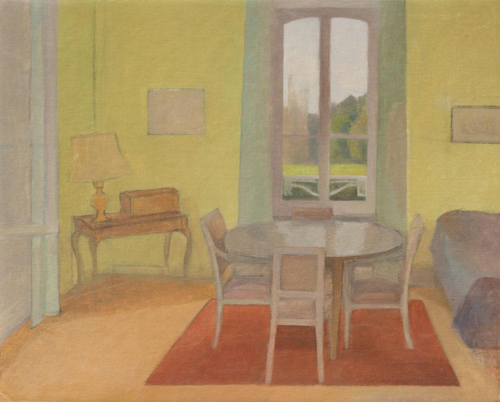 """Table de la salle à manger à la fenêtre<span class=""""line2"""">Huile sur carton entoilé<br />41 x 33 cm</span>"""