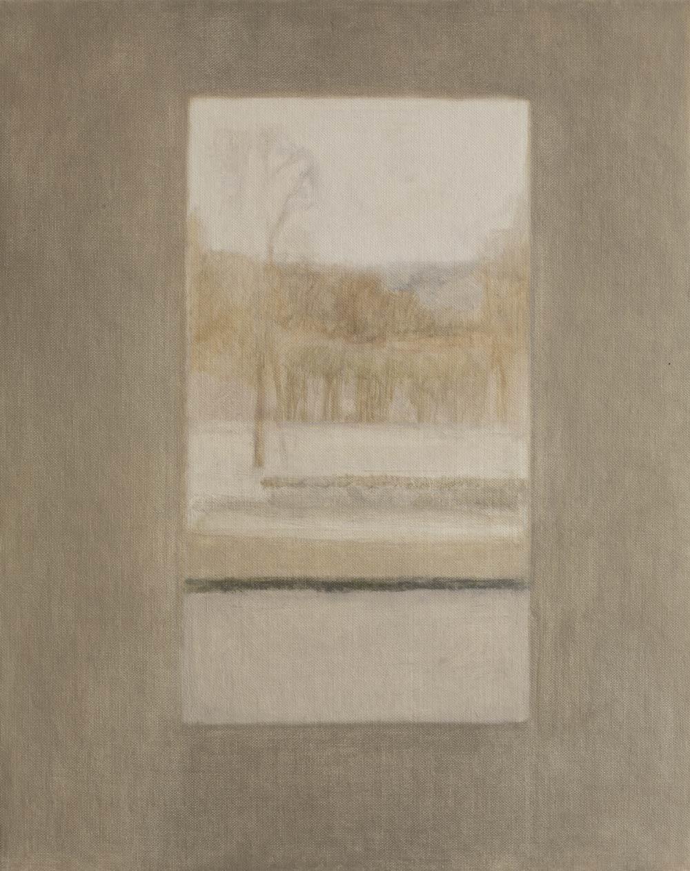 """Fenêtre aux arbres de terre et de neige<span class=""""line2"""">Huile sur carton entoilé<br />41 x 33 cm</span>"""