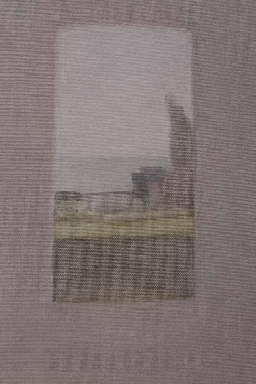 """Fenêtre turquoise au peuplier<span class=""""line2"""">Huile sur carton entoilé<br />33 x 22 cm</span>"""