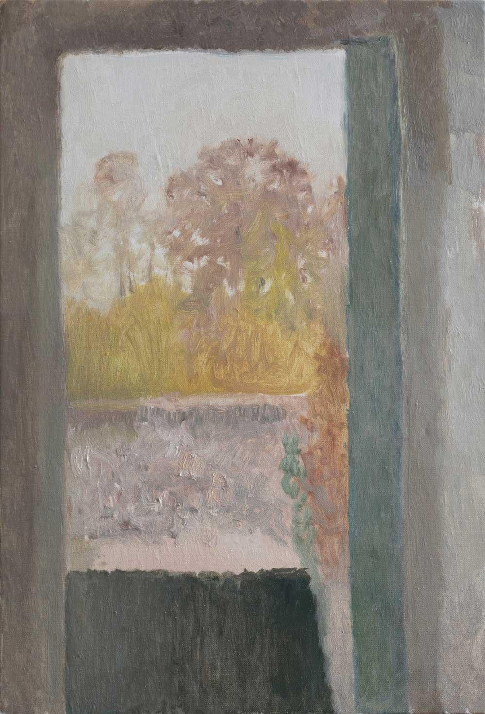 """Fenêtre aux arbres en feu<span class=""""line2"""">Huile sur carton entoilé<br />24 x 35 cm</span>"""