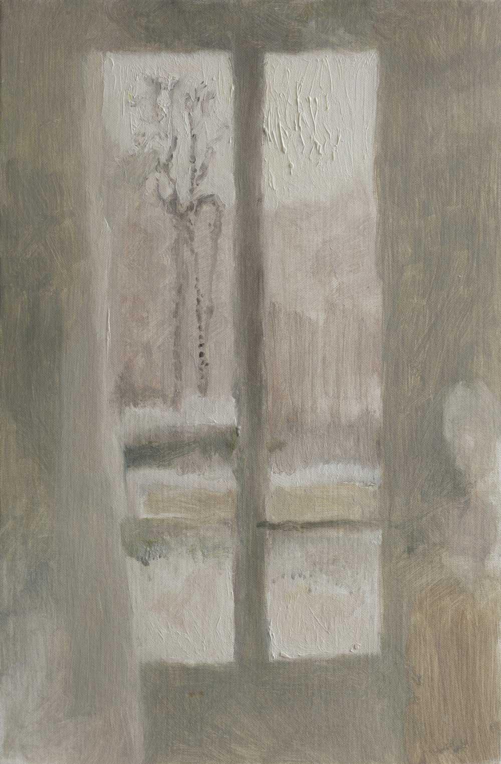 """Fenêtre à l'arbre au chapelet<span class=""""line2"""">Huile sur carton entoilé<br />41 x 27 cm</span>"""