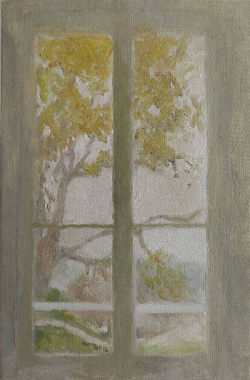 """Fenêtre de mariés au printemps<span class=""""line2"""">Huile sur carton entoilé<br />46 x 38 cm</span>"""