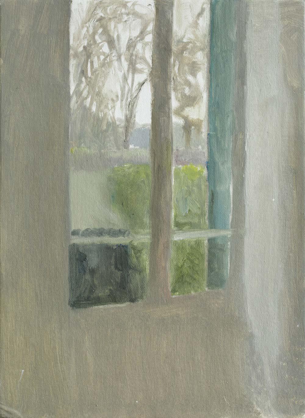 """Fenêtre au volet vert<span class=""""line2"""">Huile sur carton entoilé<br />24 x 33 cm</span>"""