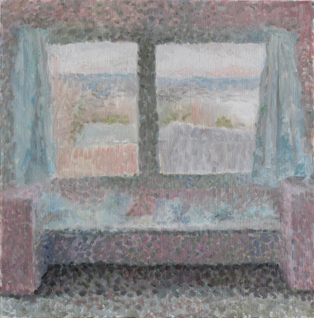 """Fenêtre à la chambre rose<span class=""""line2"""">Huile sur carton entoilé<br />40 x 40 cm</span>"""