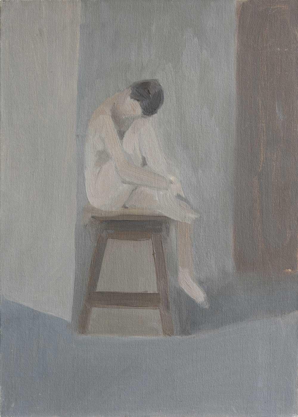 """Femme genou et tabouret<span class=""""line2"""">Huile sur carton entoilé<br />46 x 33 cm</span>"""