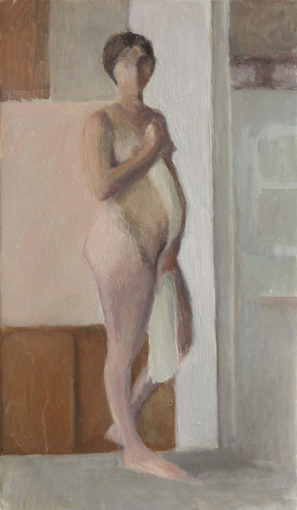 """Femme-attente<span class=""""line2"""">Huile sur carton entoilé<br />46 x 26 cm</span>"""