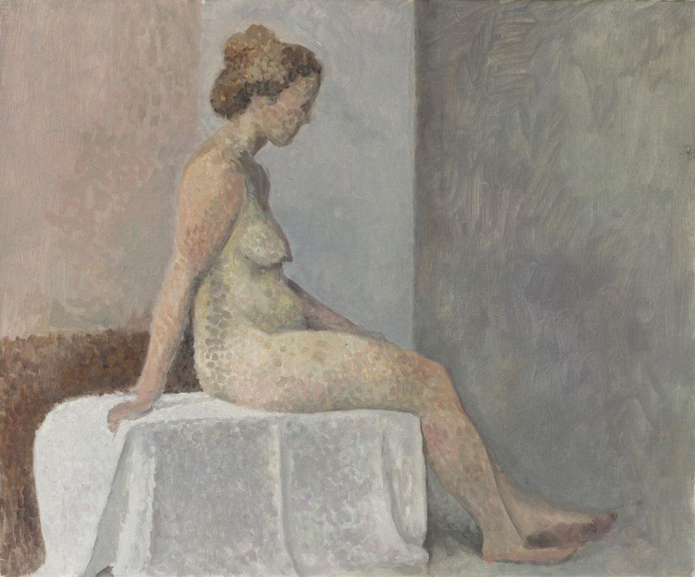 """Femme assise au drap blanc<span class=""""line2"""">Huile sur carton entoilé<br />54 x 65 cm</span>"""