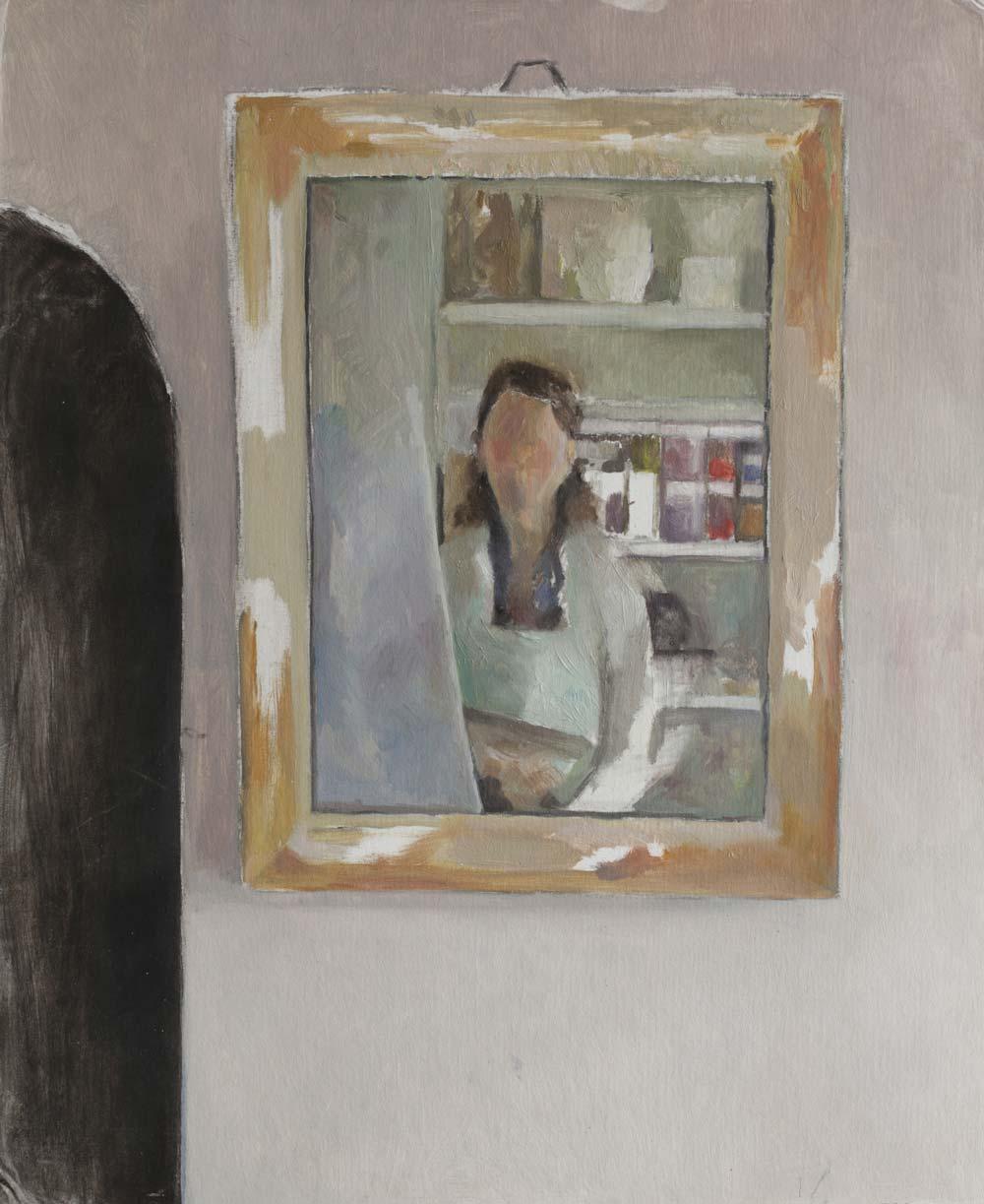 """Autoportrait au miroir<span class=""""line2"""">Huile sur carton entoilé<br />61 x 50 cm</span>"""