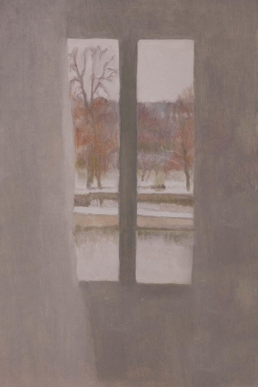 """Fenêtre à la neige et aux arbres rouge<span class=""""line2"""">Huile sur carton entoilé<br />41 x 27 cm</span>"""